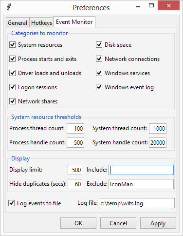 Event monitor preferences